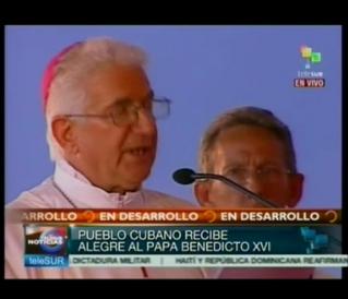 Calida acogida al Papa Benedicto XVI en Santiago de Cuba.